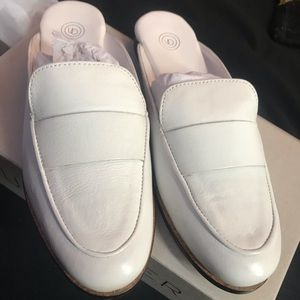Cream leather loafers